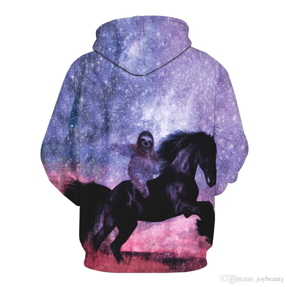 Long Sleeve Crop Hat Hoodie Cute Horse Printed pullover Crop Hoodie S-3XL