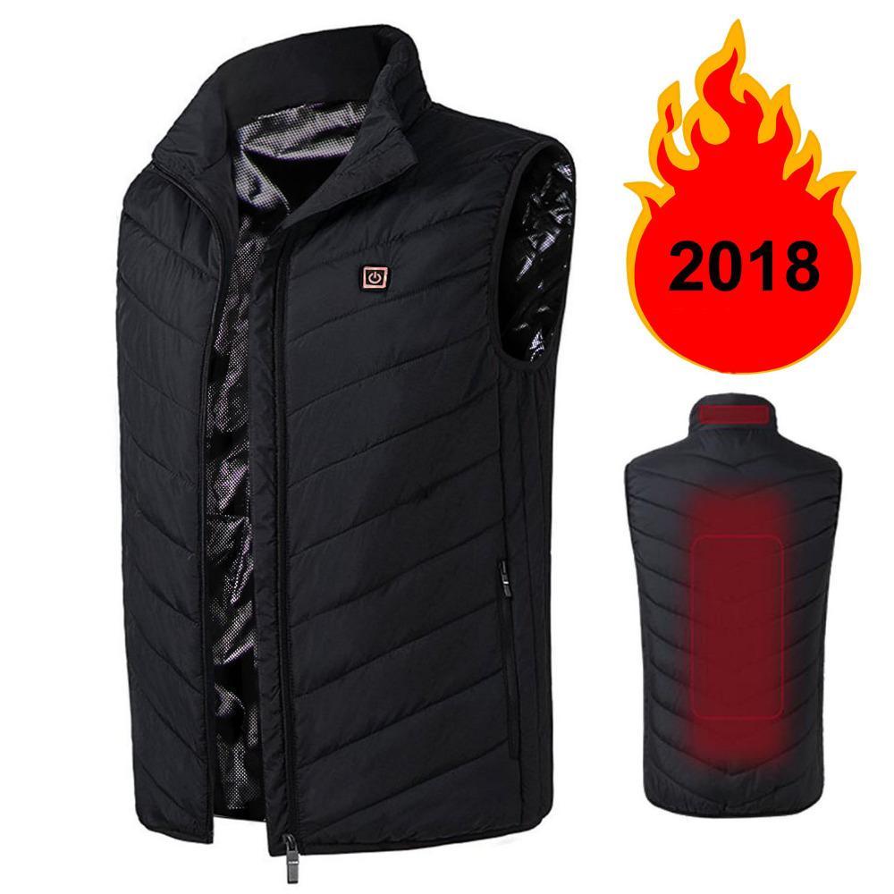 Casaco de inverno dos homens Leve Isolado Colete Aquecido USB Aquecimento Esportes Colete Para Baixo Vest Usb Jaqueta de Carregamento dos homens plus size 4XL