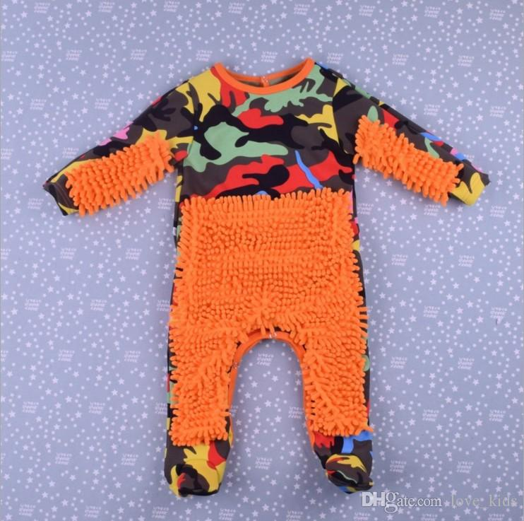 Baby Mop Romper Outfit Unisex Infant Polishes Floors Cleaning Swob Jumpsuit