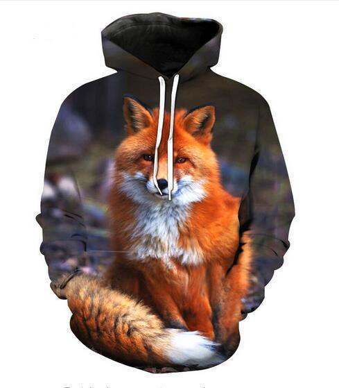 أزياء الخريف الشتاء هوديس الرجال النساء الحيوان فوكس 3d طباعة crewneck هوديس عارضة جيوب البلوز القمم GQL0156