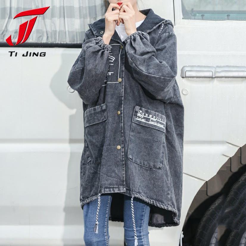 TJ 2018 nuova moda primavera donna lungo trench denim jean con cappuccio outwears donna oversize con cappuccio che si cela maniche top coat P32