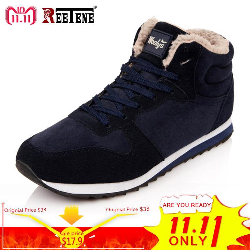 REETENE Cheapest Winter Boots Men Fashion Fur Flock Winter Shoes Men Leather Winter Ankle Boots Men Warm Casual Boots 37-48