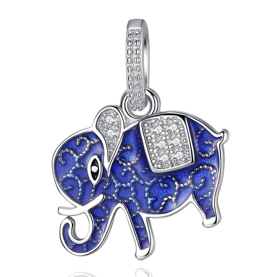 Belawang جميل الحيوان مجموعة الفيل قلادة 925 فضة الأزرق المينا قلادة للنساء الأطفال صالح قلادة صنع المجوهرات