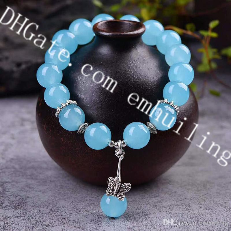 10Pcs Aquamarine Blue Chalcedony 12mm Round Smooth Loose Beads Stretch Bracelets with Tibetan Silver Butterfly Charm Throat Chakra Soothing