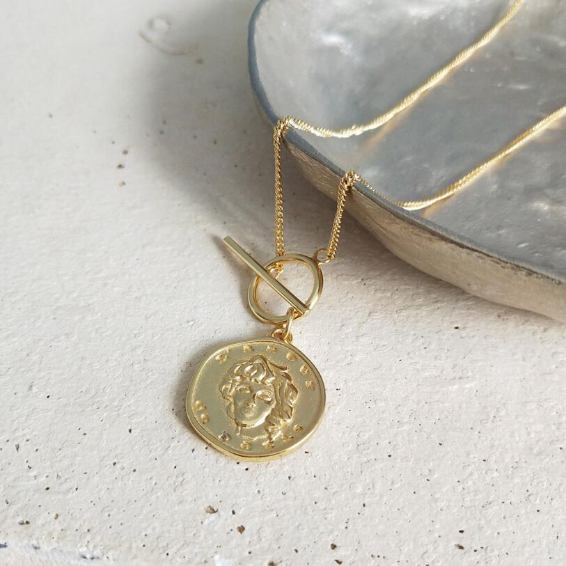 925 Sterling Silver Round Coin Lady Portrait Pendentifs Collier Femmes Couleur Or Femmes Portrait Collier Charmes Fine Jewelry