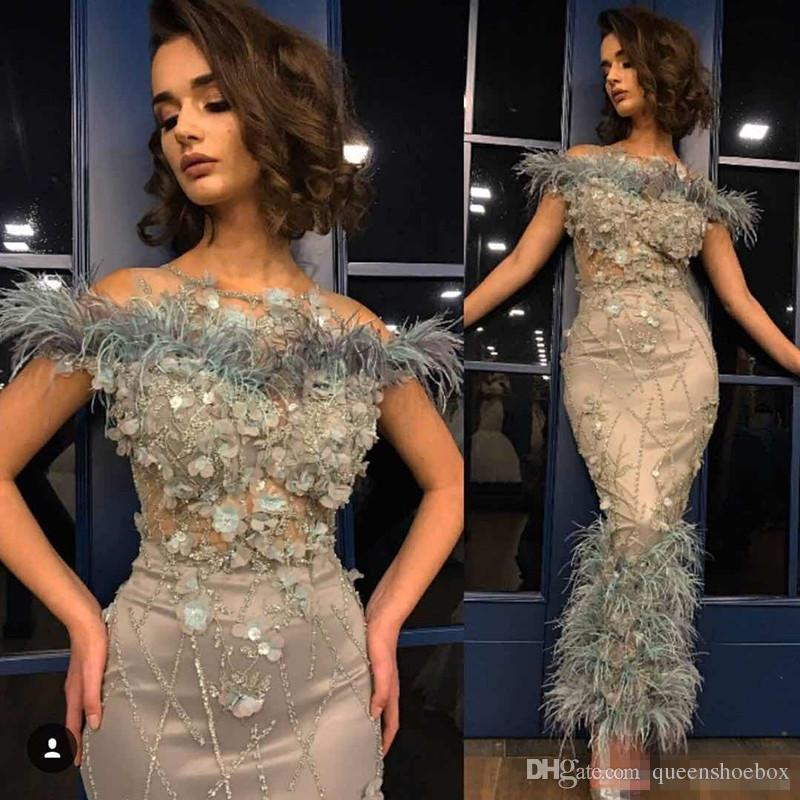 Sexy Mermaid Funda Aankle Longitud Vestidos de fiesta 2018 con plumas Hecho a mano con abalorios de lujo de lujo de lujo de la noche, vestidos de ocasión baratos