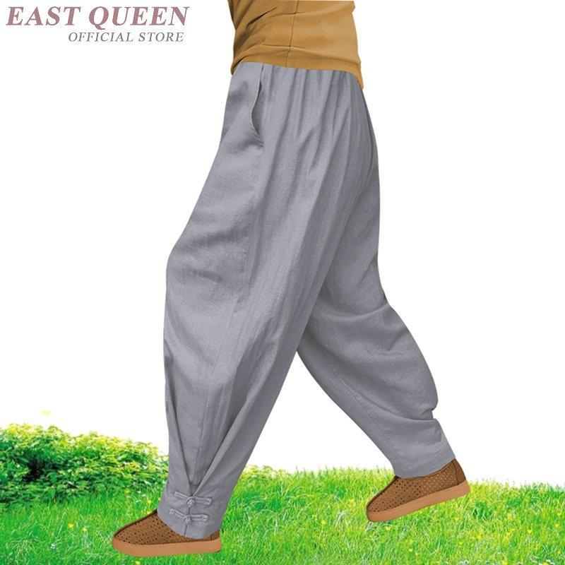 Vestuário monge budista roupas shaolin kung fu calças de linho homens masculinos wushu monge calças FF801
