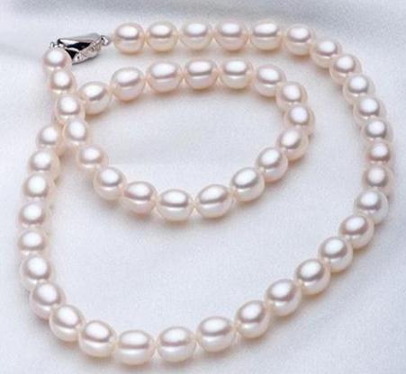 7-8мм Южное море натуральный белый рис форма жемчужное ожерелье 17 дюймов 925 серебряная застежка