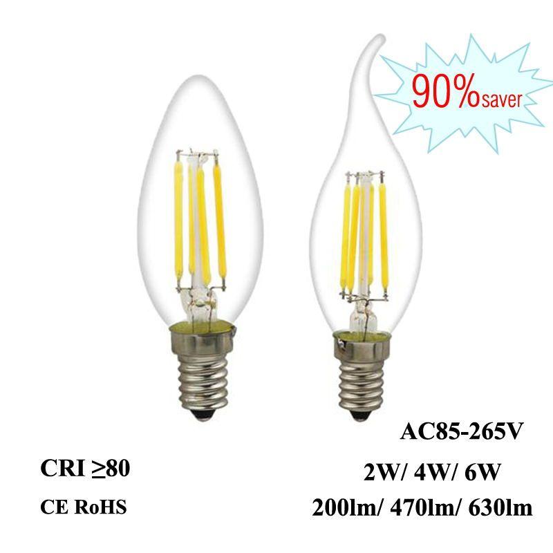 LED 필라멘트 전구 E12 E14 2W 4W 6W Edison Candle Light 110V 220V 240V C35 360 ° 크리스탈 펜던트 샹들리에 고정 장치 용 클리어 유리 램프