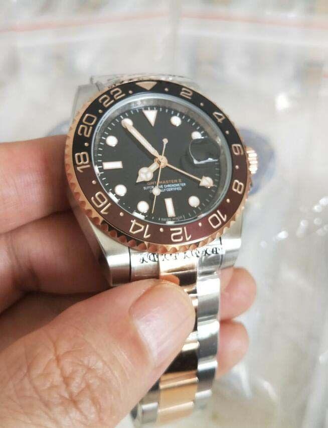2018 la última versión 126715 Relojes de lujo Sapphire 40mm negro esfera marrón / negro bisel Asia 2813 Movimiento automático relojes para hombre