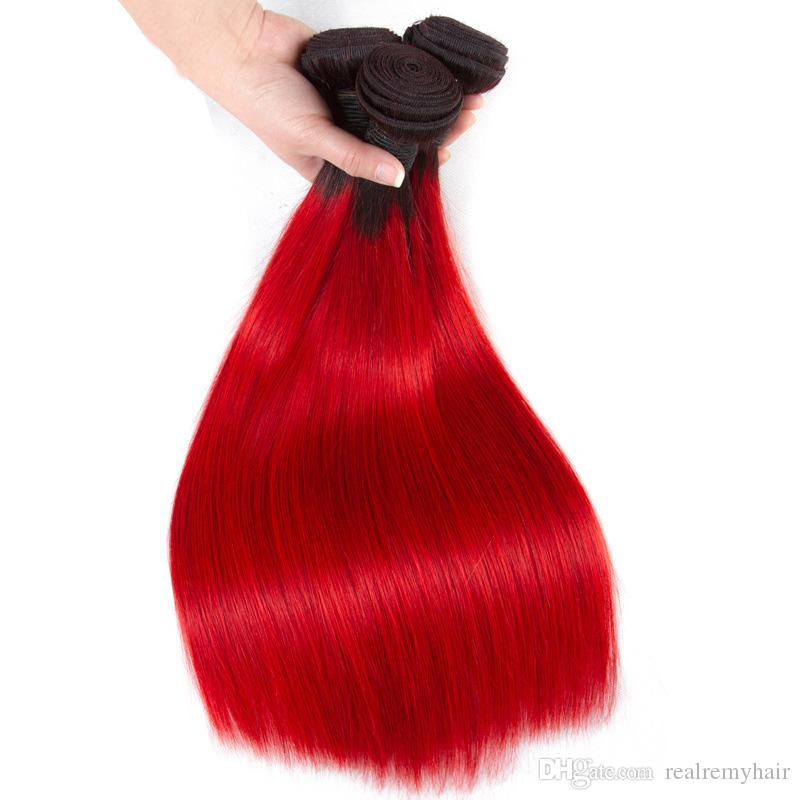 Brazilian Ombre Human Hair 3/4 Bundles Cheap Straight 1B/Red Human Hair Weave Two Tone Colored Red Human Hair Wefts Extensions