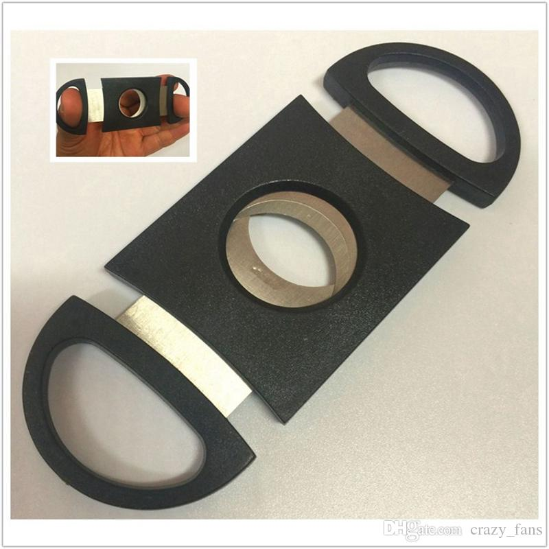 Black Cigar Cutter Stainless Steel Double Blade Guillotine Scissors Pocket Size Smoke Knife for Most Size of Cigars Smoking Accessories DHL