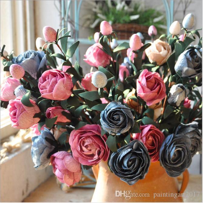 Rose Pink Silk Pfingstrose künstliche Blumen Bouquet Big Head und Bud Günstige gefälschte Blumen für Home Hochzeit Dekoration indoor