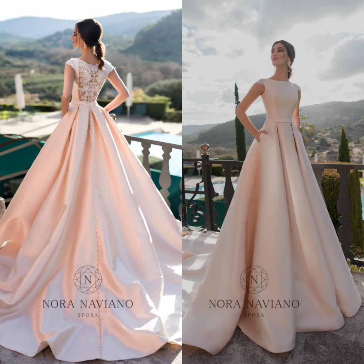 Nora Naviano 2019 Um casamento Linha Vestidos Lace Applique Voltar Cap Sleeve Trem da varredura vestidos de noiva Plus Size Robe De Mariée