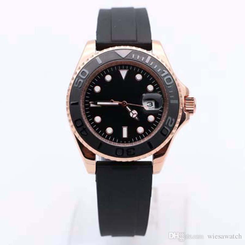 Negra alta qualidade Dial 40MM relógio automático Movimento Rubber Strap cristal de safira Mens relógios luminosos Rosa de Ouro Caso pulso