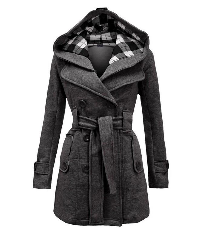 Новые Женщины Шерсть бленды Полный Рукав Крупногабаритные пальто куртки Двойной Брестед Верхняя одежда партии Плюс Размер Winter Hooded