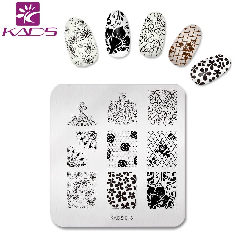KADS 2017 Hot Full Beauty Flowers Image Print Stencil Stamp Stamping Nail Plates Nail Art Template Styling DIY Decoration Tool