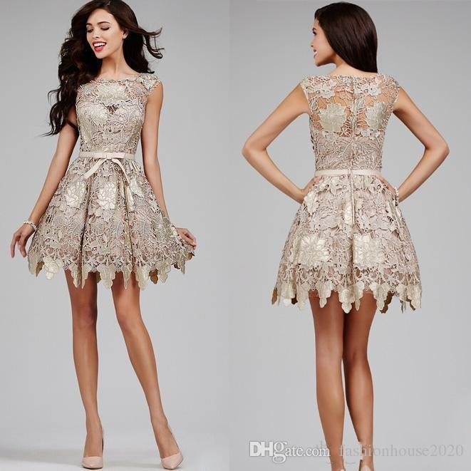 2018 Champagne Short Mini Arabic A Line Homecoming Dresses Full Lace Jewel Neck Bow Knee Length Celebrity Evening Cocktail Prom Party Gowns