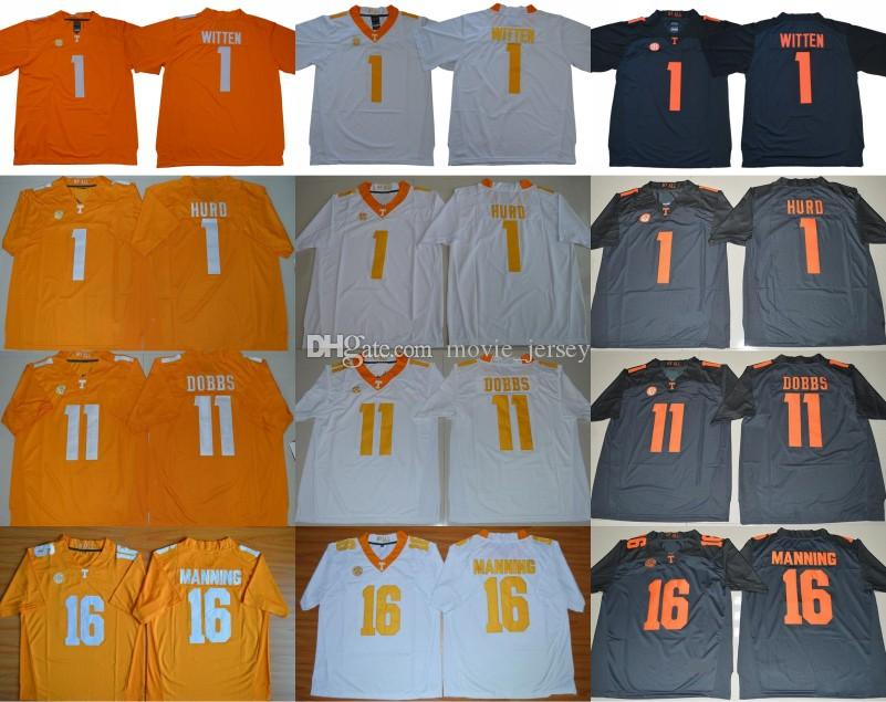 NCAA Tennessee Volunteers College 1 Jason Witten Jalen Hurd Orange Blue White Stitched 11 Dobbs 16 Peyton Manning University Football Jersey