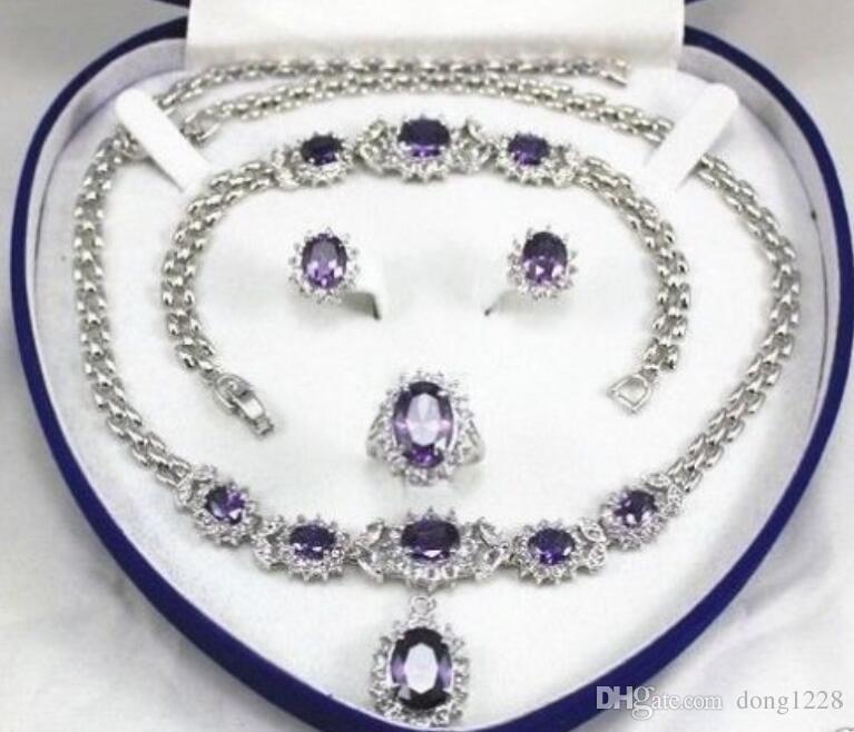 women's jewelry Purple gem new Earring Bracelet Necklace Ring