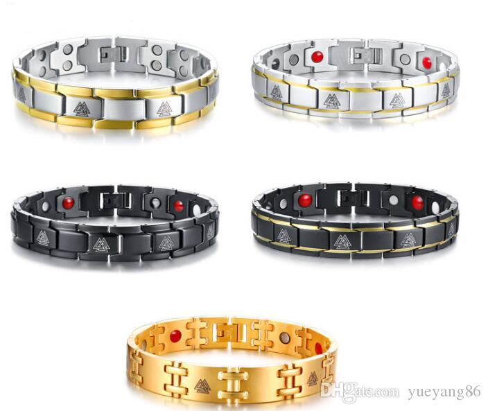 GNAYY Bijoux Tout Neuf En Acier Inoxydable Magnétique Santé Thérapie Soins De Mode Bracelet Or argent Noir XMAS Cadeaux 12mm 8.26