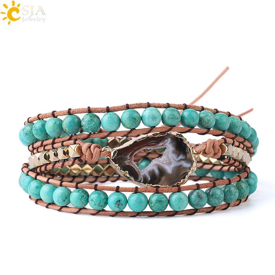 CSJA ePacket Free US Natural Turquoise Gemstone Mala Beads Bracelet Agate Slice Geode Bracelets Charms Boho Wrap Jewellery for Women S225