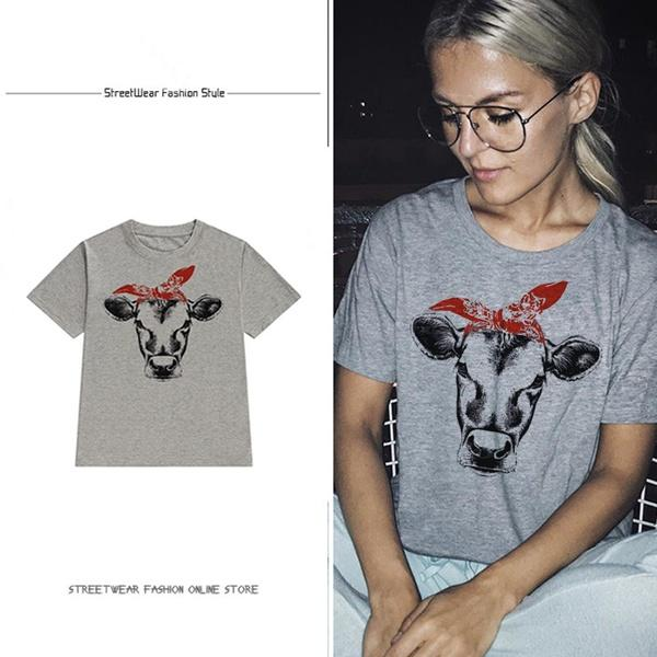 cdaa289c1b Summer New Fashion Unisex Girls Casual Short Sleeve Farm Cow Print Graphic  Tees Clothing Cowgirl Shirt