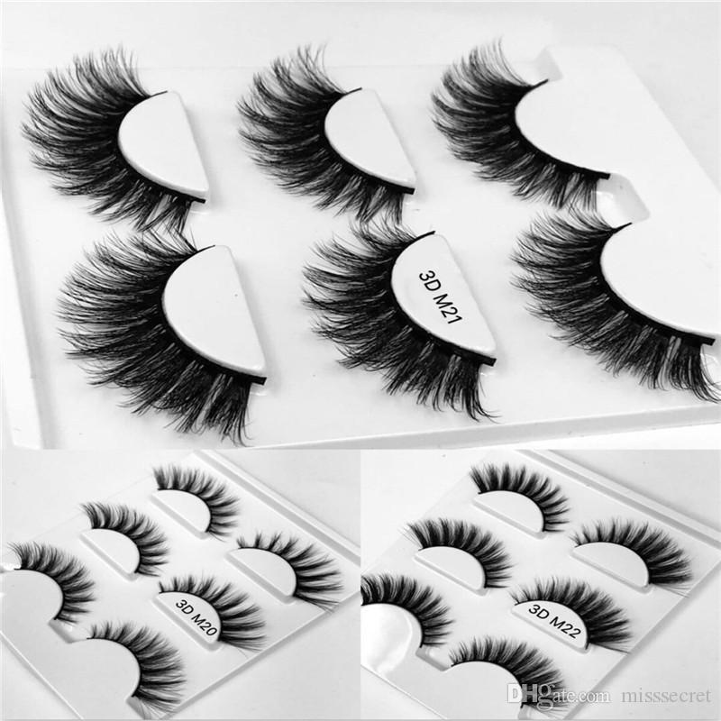 3 Pairs/Set 3D Thick Curly Eyelashes Handmade False Eyelash Eye Makeup Natural Long Eyelash Extension Eye Lashes