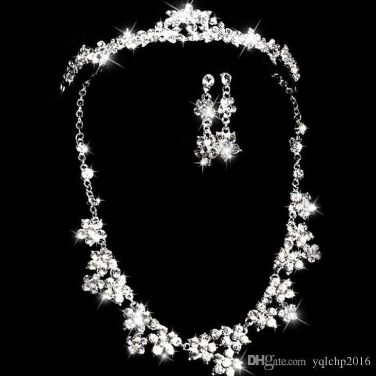 Set di copricapo da sposa con copricapo nuziale in catena in lega di vetro