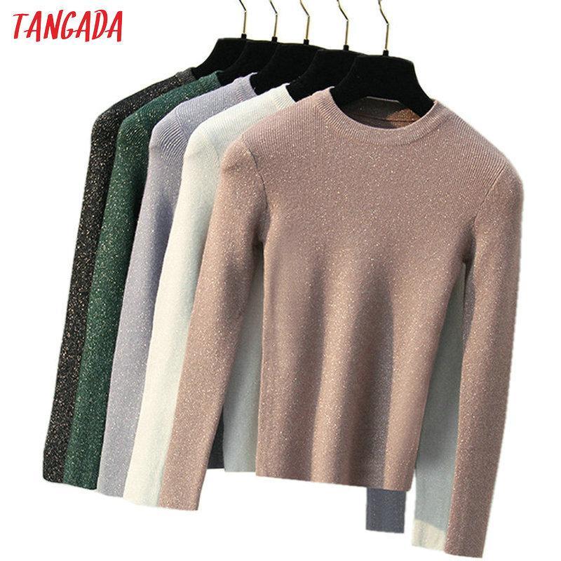 Tangada женщин свитер с длинным рукавом перемычка Осень Зима мода пуловер блестящие свитера 2018 корейский стиль трикотаж тянуть Femme ARX S18100803