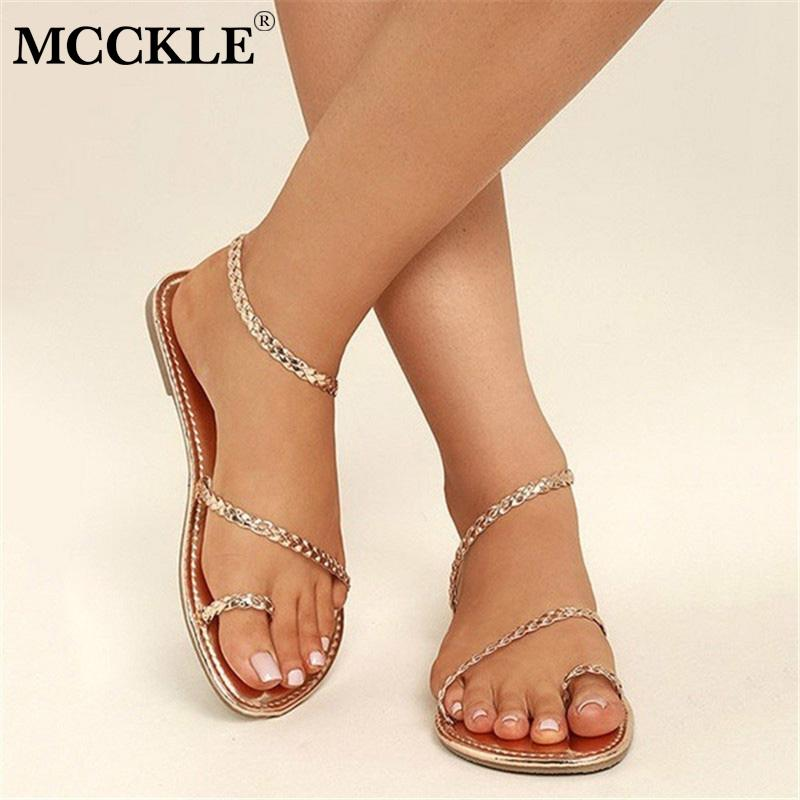 MCCKLE Plus Size Thong Sandals Summer