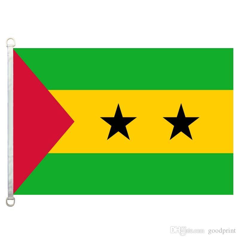 Sao_Tome_and_Principe Bandiera Banner 3X5FT-90x150cm 100% poliestere, 110 gsm ordito tessuto a maglia bandiera esterna