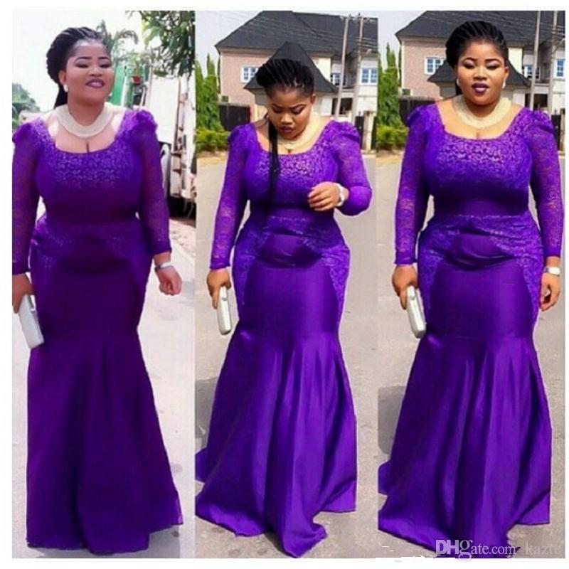 Plus Size Purple Prom Dresses 2018 Mermaid Long Sleeve Square Long lace trumpet african nigeria Evening Gowns For Maxi Women New Style