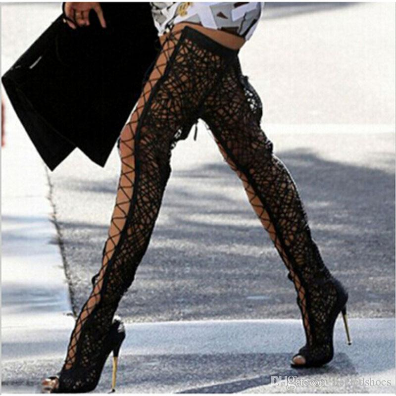 Seksowne panie rybne toe rzęsy koronki plecione wyciąć buty udowe metalowe szpilki buty kobieta nad kolanami koronki letnie długie sandały botas