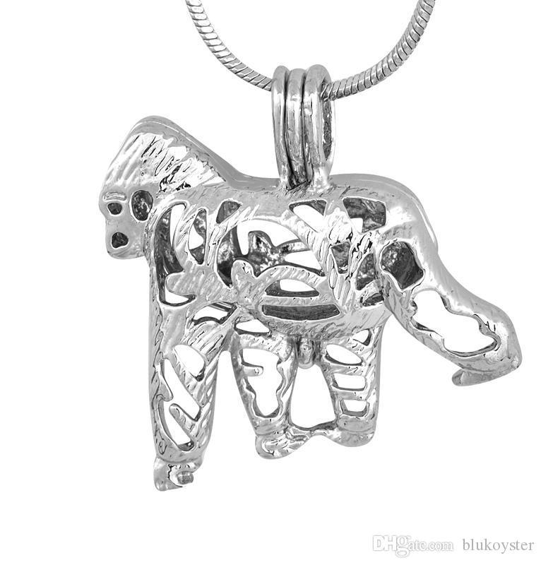 Sıcak Satış şempanze Kafes Kolye hayvan Şekli Inci Mücevher Boncuk Kafes Lockets fantastik şerit Kolye P91