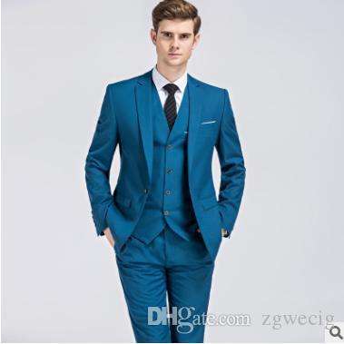 2018 New Formal Tuxedos Suits Men Wedding Suit Slim Fit Business Groom Suit Set S-4 XL Dress Suits Tuxedo For Men (Jacket+Pants+Vest)