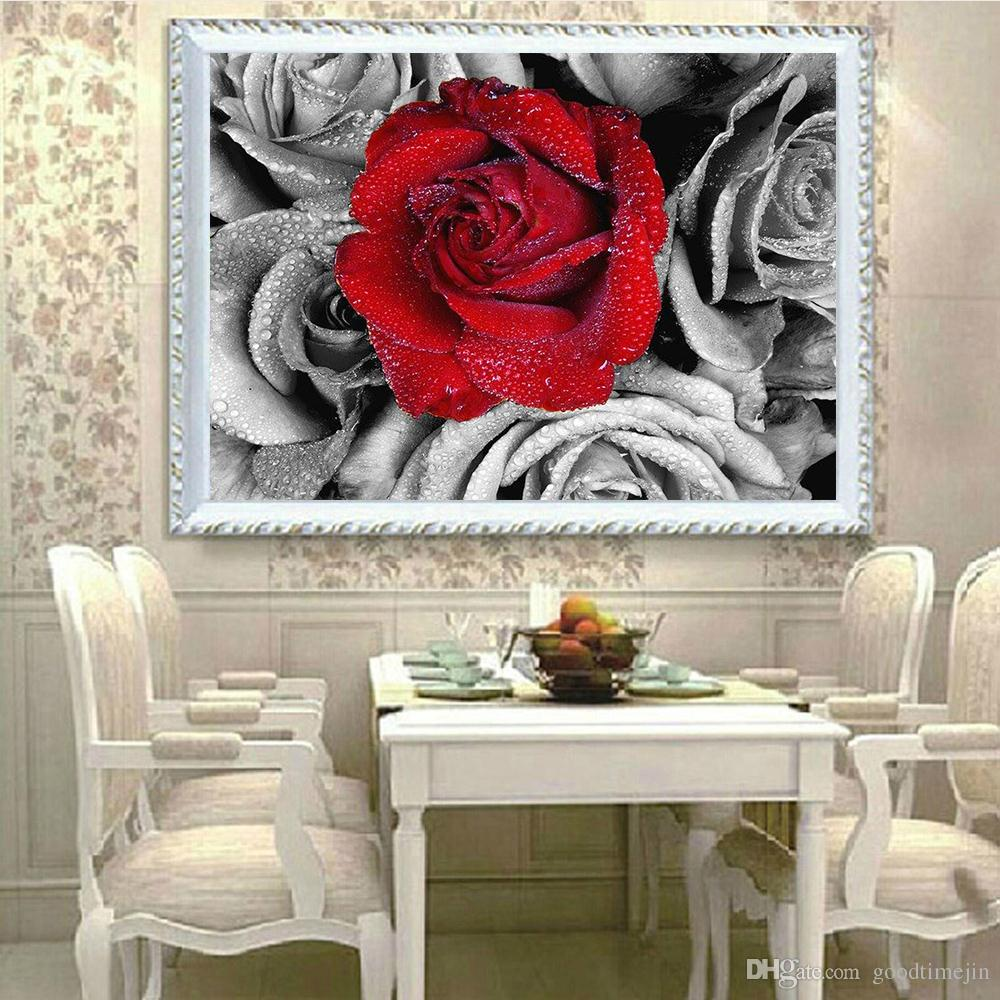 5D DIY landscape red rose diamond painting colored cross embroidery family living room and room decoration