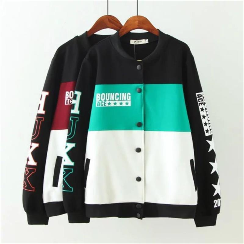 Oversized Plus Size Striped Stand Collar Long Sleeve Women Basic Coats 2018 Autumn Letter Print Bomber Jacket Women 4XL