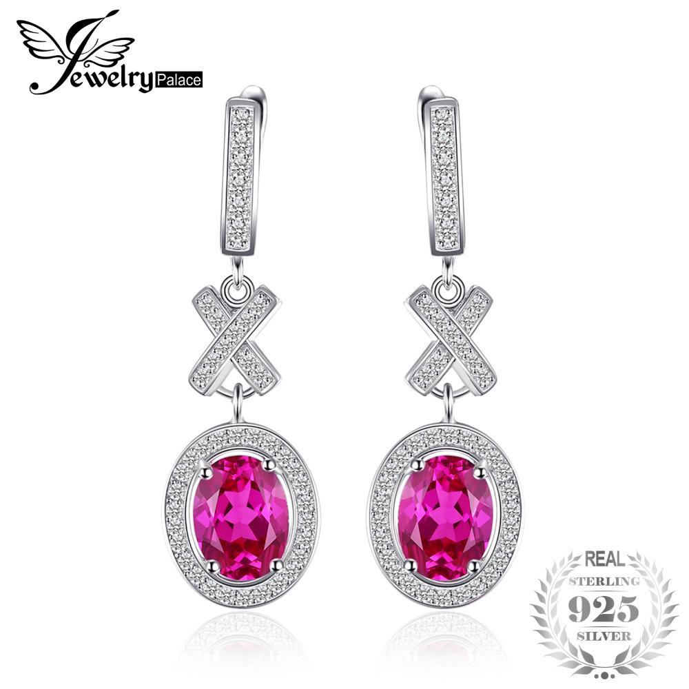 JewelryPalace Classic 3.5ct Oval Created Sapphire Halo Drop Dangle Earrings Charm 925 Sterling Silver Fashion Women Jewelry S18101207