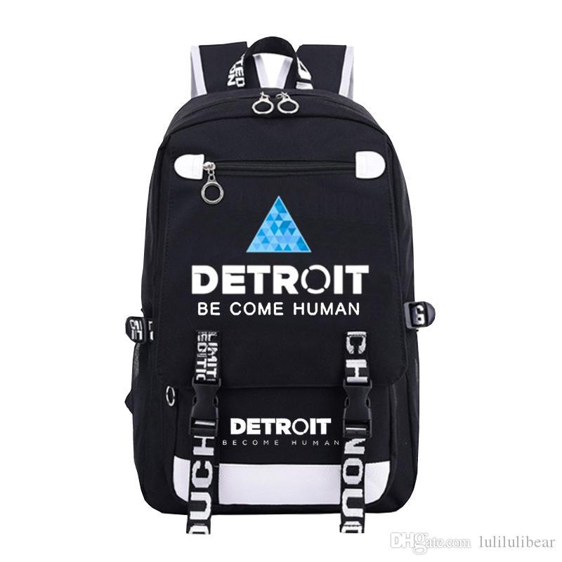 ديترويت اصبح الإنسان قماش حقيبة الظهر الرجال للنساء حقائب الكتف السفر بنين بنات حقيبة مدرسية للمراهقين محمول عارضة حقيبة