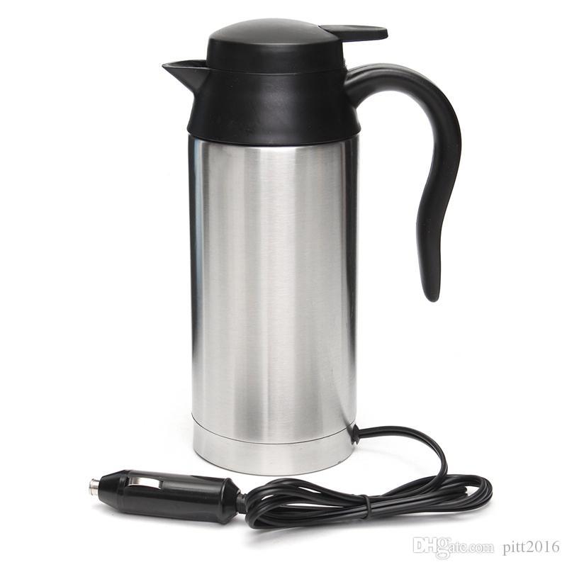 12 V bollitore elettrico in acciaio inox 750ml viaggio in auto viaggio caffè tè riscaldato tazza motore acqua calda per auto o camion