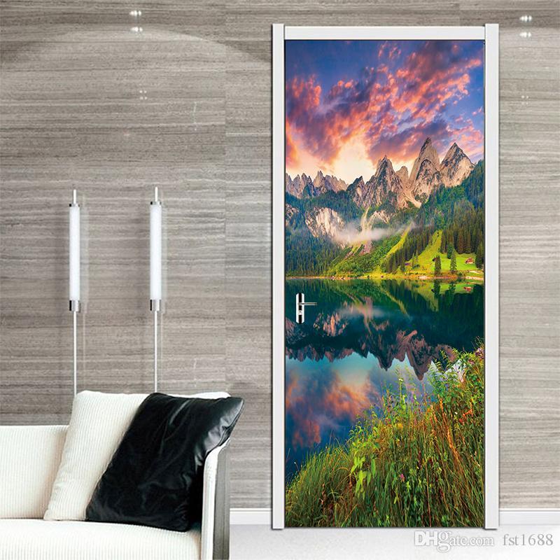 3D DIY Art Door Sticker Sunset glow Landscape Scenery Oil Painting Door Paint Bedroom Living Room Waterproof Door Decorative PVC Wall Mural