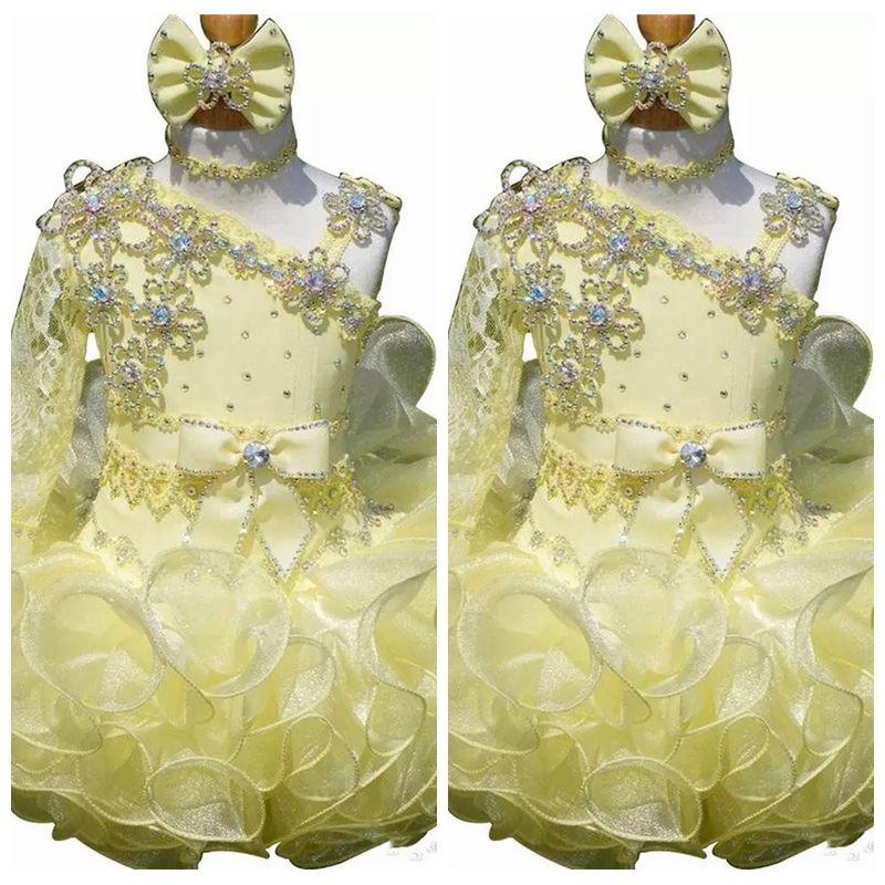 2019 dentelle une épaule Pageant robes de cupcake infantile robes de bal Tutu enfant en bas âge bébé filles une épaule fête d'anniversaire Pageant
