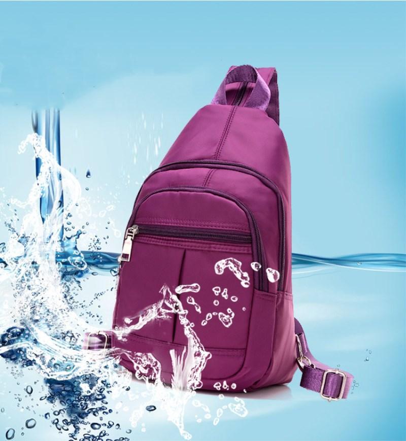 2018 أزياء غسل كيس نايلون السيدة الترفيه مزدوج حزمة الصدر الكتف ثلاثة حقيبة مدرسية صغيرة متعددة الوظائف