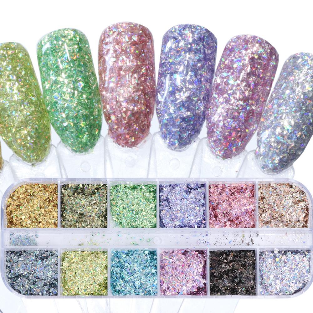 1Case Laser Iridescent Flakes Nagel-Puder-Staub Glitter Unregelmäßige Paillette Holo Pailletten glänzende Nagel-Kunst-Dekoration Maniküre Beals