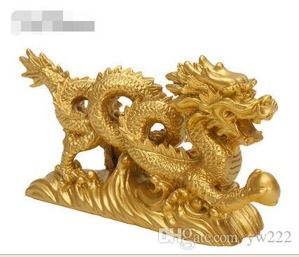 """KiWarm Classic 6.3"""" Chinese Geomancy Gold Dragon Figurine Statue Ornaments for Luck and Success Decoration Home Craft"""