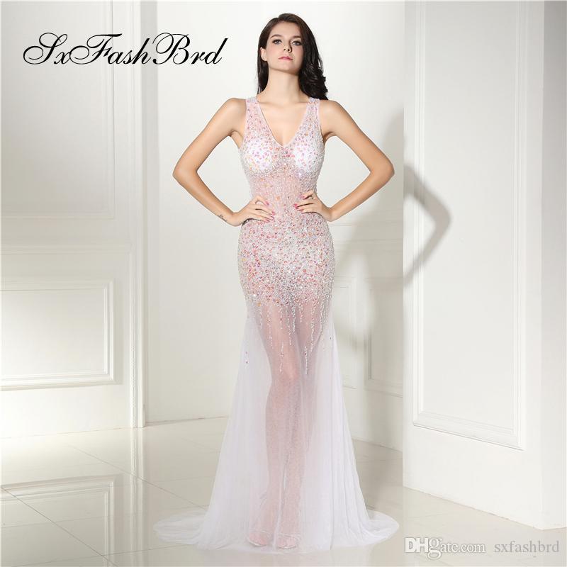 Vestido elegante de las muchachas V cuello abierto trasero a través de la sirena con los cristales principales Tulle Party largo Vestidos de noche formales para las mujeres Vestidos del vestido de la graduación