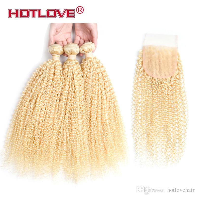 Brazilian Virgin Hair 3 bundles with closure #613 Blonde Kinky Curly hair virgin brazilian hair honey blonde lace closure with bundles
