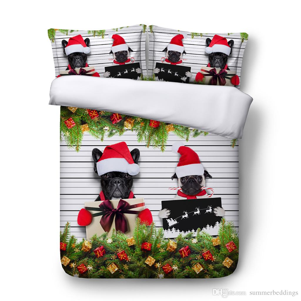 3D Christmas Duvet Cover Animal Bedding Sets Dog Sheep Bedspreads Holiday Quilt Covers Bed Linen Pillow Covers Elk Snowman Beach Theme queen
