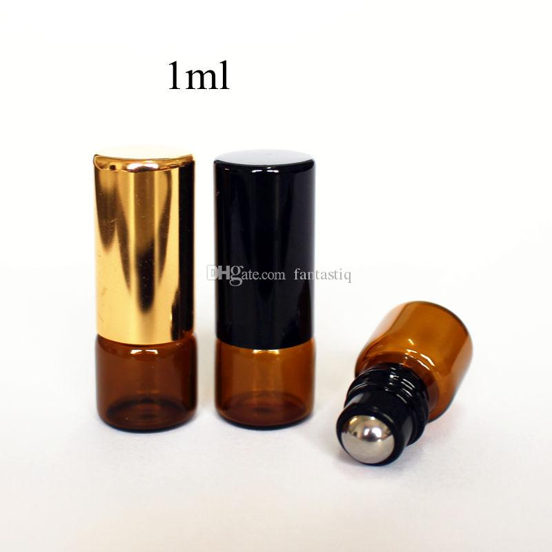 1ml Amber Thin Glass Roll on Bottle with Metal Roller Ball Glass Perfume Roll-On Vials Essential Oil Bottle with Black Gold Cap